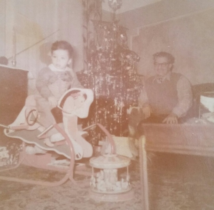 "1953 Ron and maternal Grandfather, Thomas ""Pop"" Tannous, Christmas"