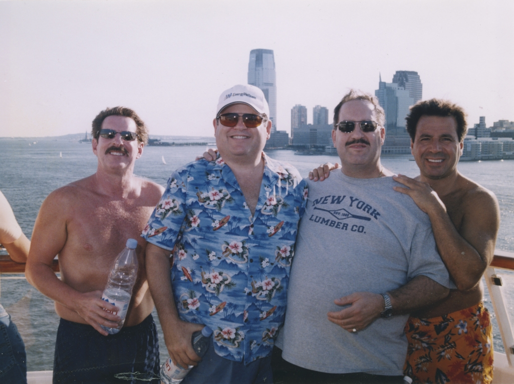 Cruise ship out of NY harbor, Brian Golie, Paul Smith, Steve Bistany and Ron