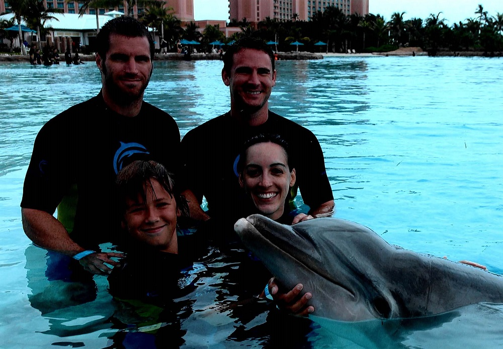 2008 Bahamas Atlantis Dolphin Experience - Joe & Tom Coury with Joe and Angela Blagg