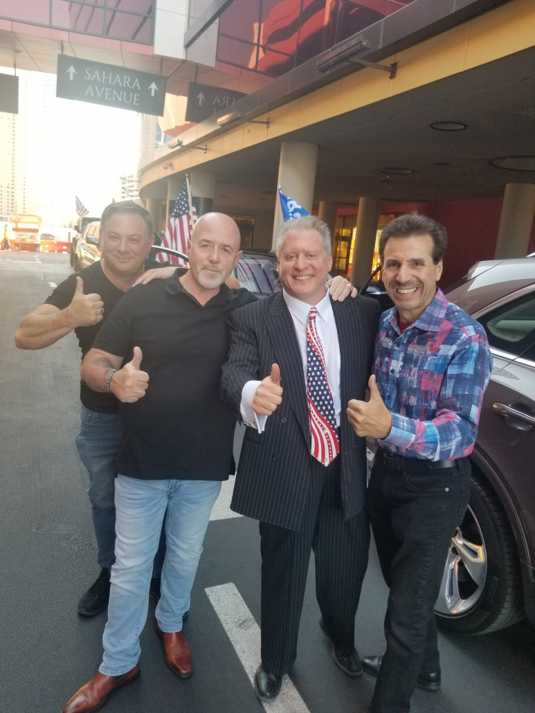 October 2020 Randy Sutton, Grand Marshall Bernie Kerik, Wayne Allyn Root and Ron Coury attend Pro Police Car Rally on Las Vegas Strip.