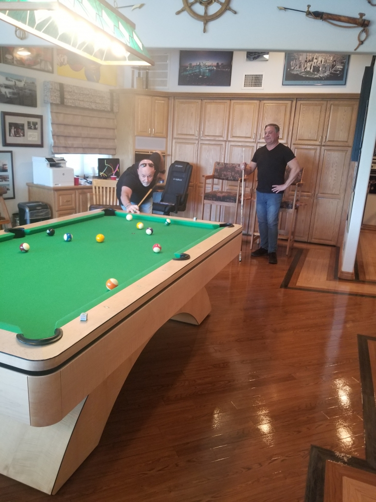 October 2020 Former NYPD Commissioner Bernie Kerik and Retired LVMPD Lt. Randy Sutton enjoy some down time playing pool in Ron's home gameroom.